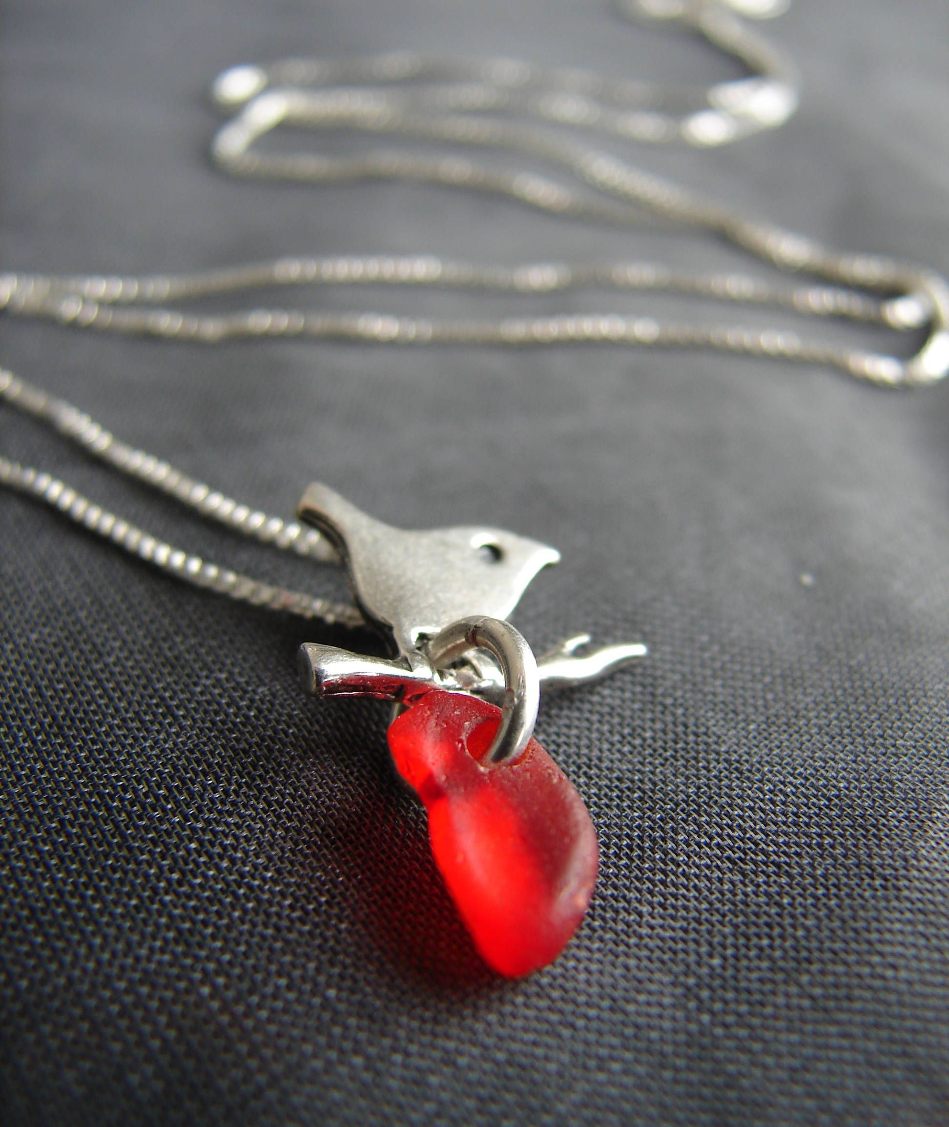 Little Bird sea glass necklace in red beach glass and sterling