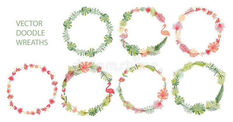 Photo of Hand Drawn Tropical Floral Wreath Collection Stock Vector – Illustration of Border, Botanical …