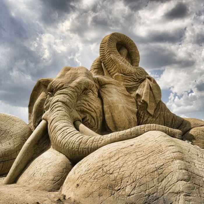 ~Elephant sand art.