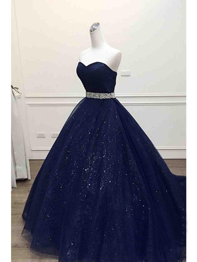 Ball gown prom dresses sweetheart sequins dark navy long prom dress