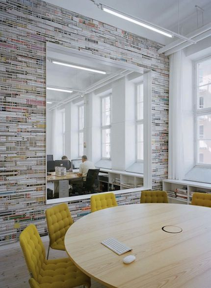Graphic design office interior ideas by elding oscarson love the wall and round table at  space like this will make you want to work also some windows between workspaces would continue spread rh pinterest
