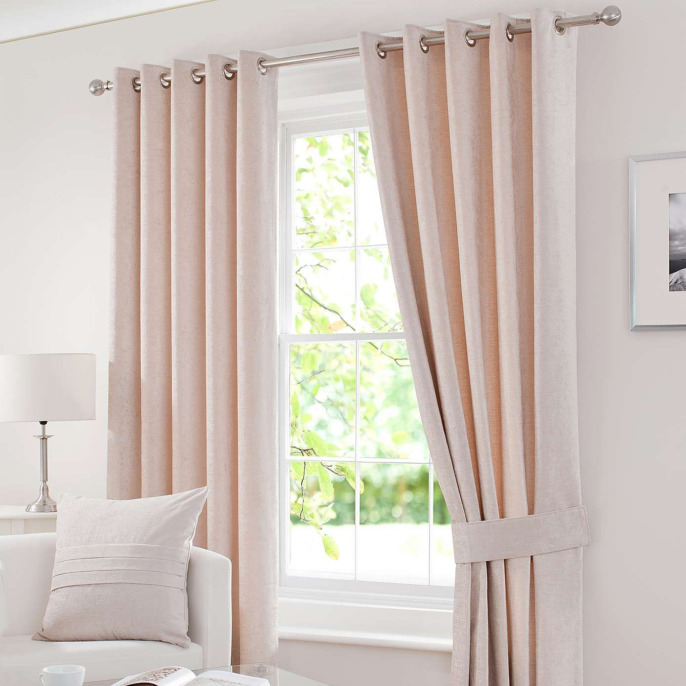 Chenille Cream Thermal Blackout Eyelet Curtains Curtains