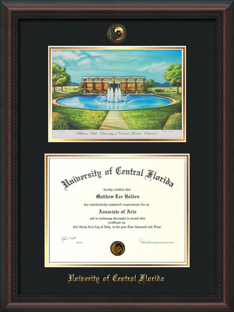 University Of Central Florida Diploma Frame Mahogany Braid W Embossed Ucf Seal Name Watercolor Black On Gold Mat Diploma Frame University Of Central Florida Frame