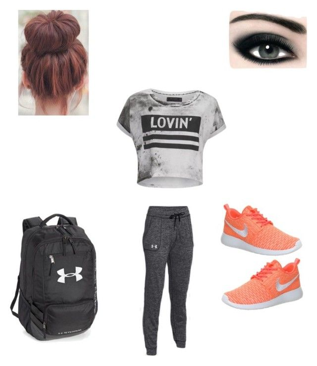 Exercise 🏋️ ♀️ by xoxotiffanyy on Polyvore featuring polyvore, Religion Clothing, NIKE, Under Armour, Max Factor, fashion, style and clothing