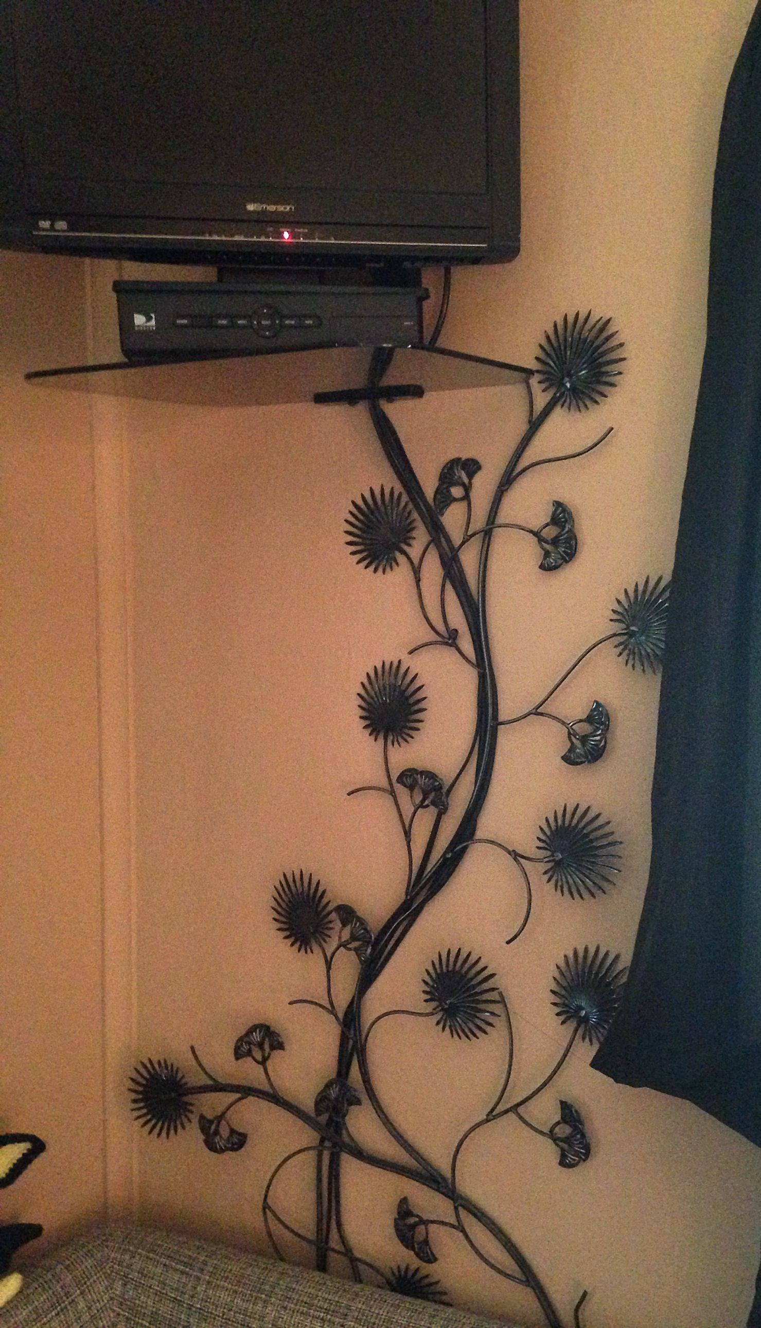 Need a way to hide TV cords? Find a vine like wall decoration and place it over the cords. Doesn't matter if it's an outdoor decoration! I think I got this one at Target