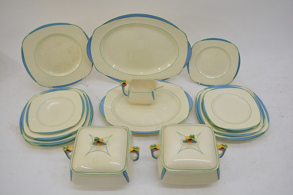 Lot 983 - An Art Deco Burleighware part dinner set with brightly ...