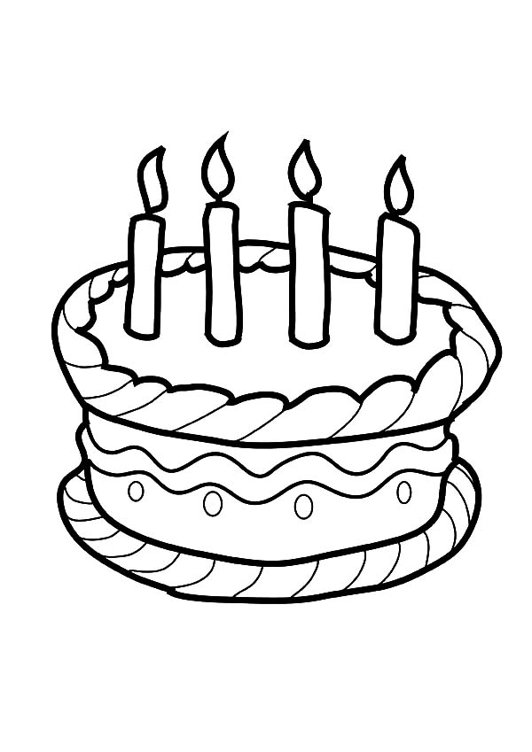 Four Candles On Birthday Cake Coloring Pages Netart Cupcake Coloring Pages Candy Coloring Pages Coloring Pages For Kids