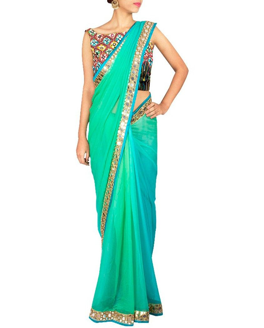 f5395bceddbd48 Sea green ombre sari with mirror work 1. Sea green ombre chiffon saree with  art mirror work border and turquoise accent.2. Comes with matching  unstitched ...