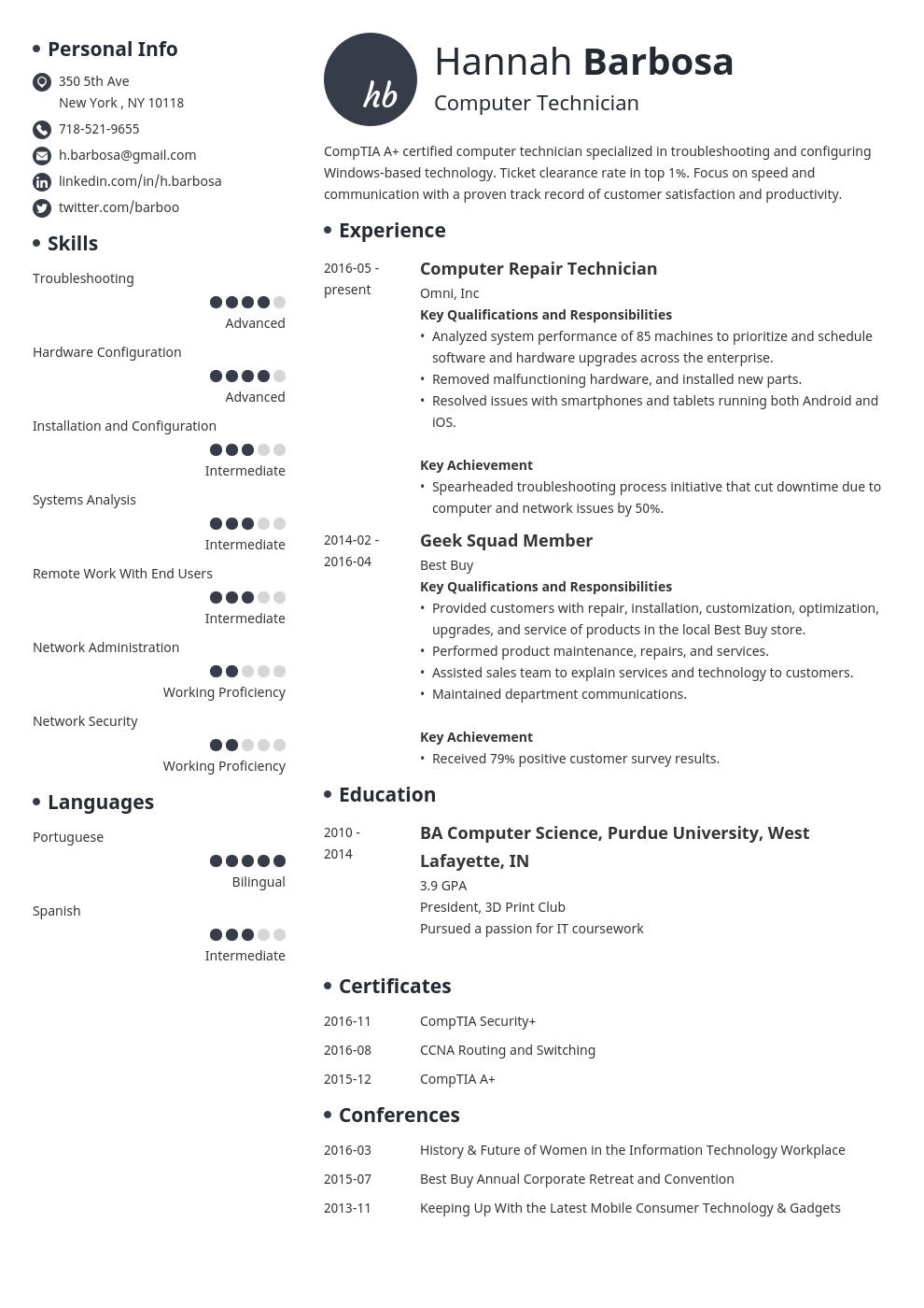 computer technician resume example template initials in