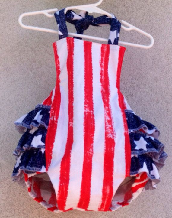 ce725ecc791e Fourth of July Stars and Stripes ruffle on the butt romper