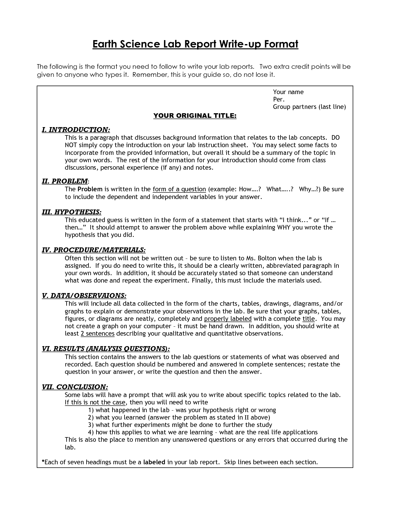 Biology Lab Template Google Search Lab Report Lab Report Template Biology Labs