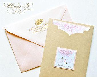Blush And Gold Wedding Invitations Por Whimsybdesigns