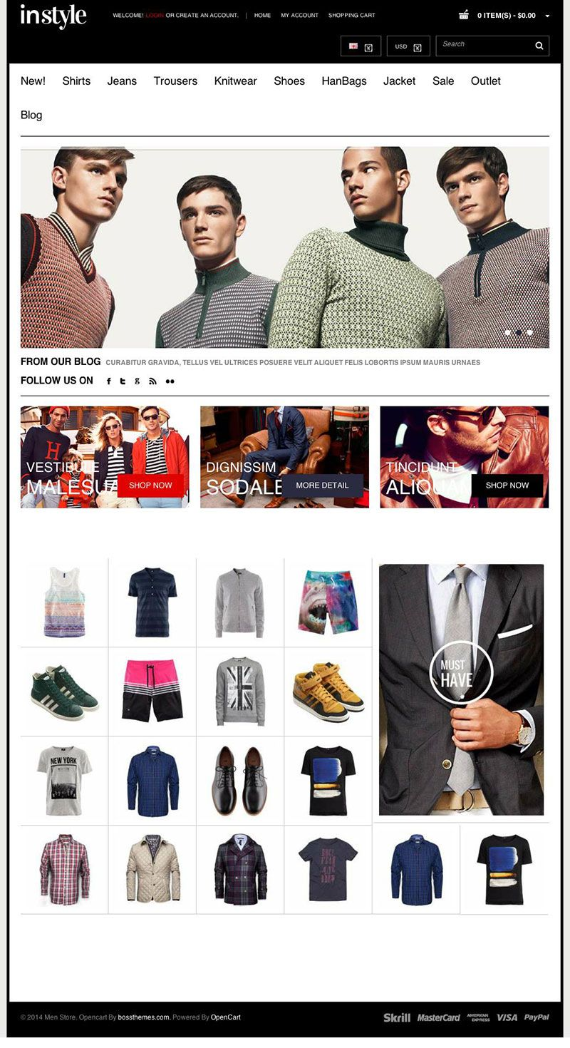 Instyle Responsive #OpenCart Mens Store Template http://www.themesandmods.com/opencart/instyle-mens/