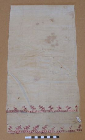 Called a Mat, but it looks like a towel to me  1500-1600 Silk embroidered on linen  Belton House, Lincolnshire