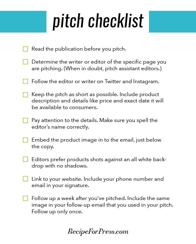 Checklist For Pitching Your Product To Publications Recipe For
