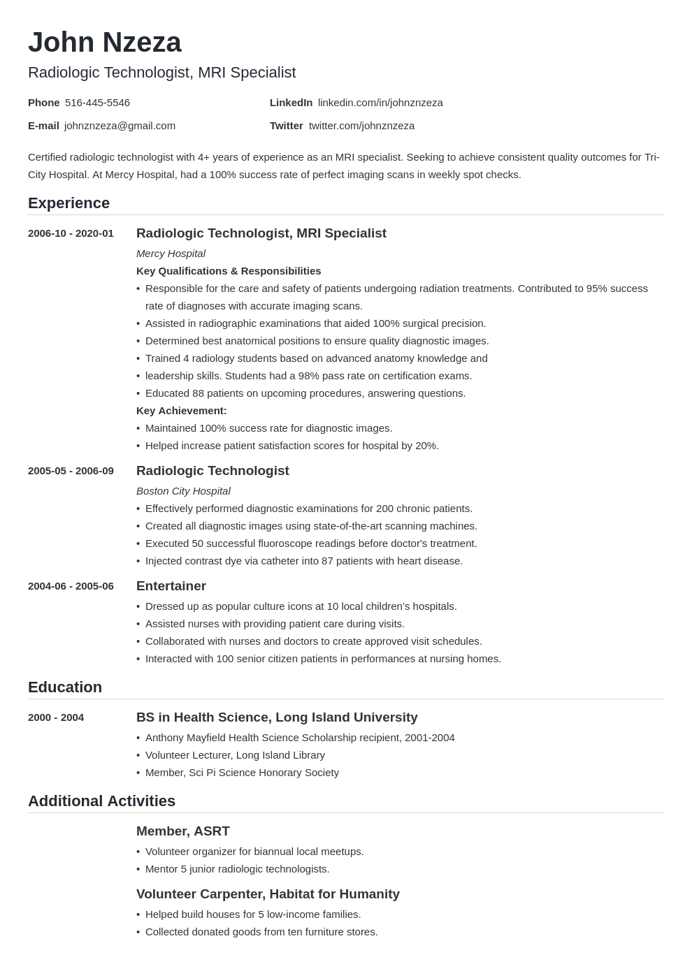 Resume Examples For X Ray Technologist Andriblog Design Resume Examples Radiology Technologist Job Resume Examples
