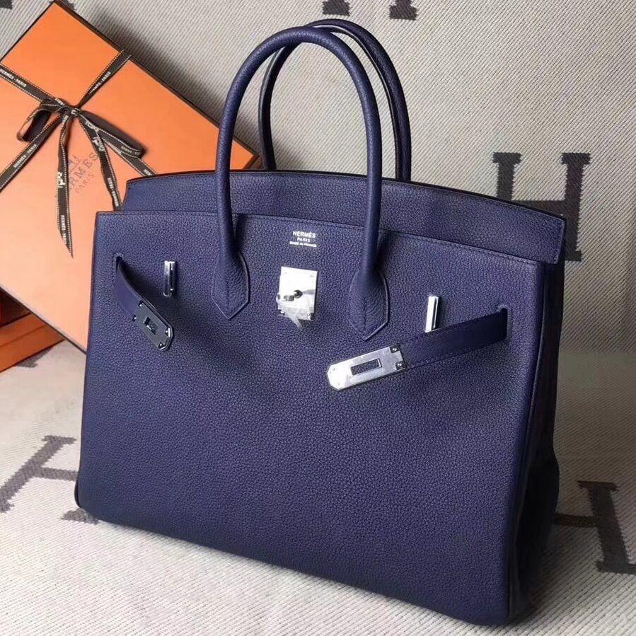 97b695883fd Hermes Original Togo Leather Birkin 25 30 35 Handbag Mod Blue (Silver-tone  Hardware)