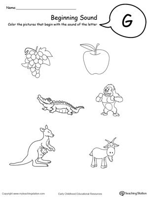 Beginning Sound Of The Letter G  Worksheets Literacy And Learning