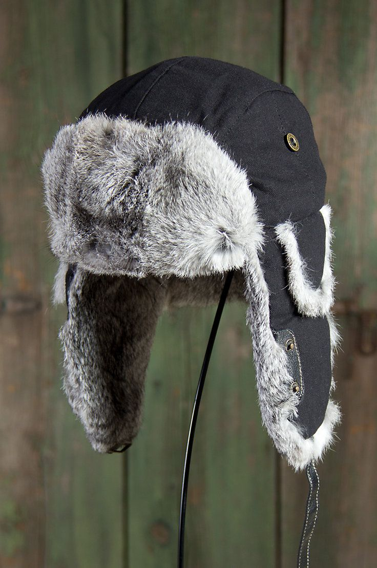 f0ac6653150b7 Canvas Aviator Hat with Rabbit Fur Trim by Overland Sheepskin Co. (style  73264)