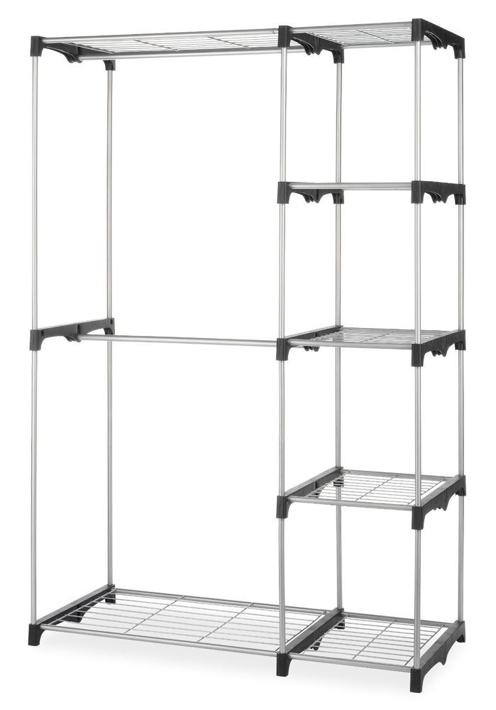 Charming Portable Closet Rack Organizer W/ Shelves, Extra Towel Storage, Lightweight  #Whitmor