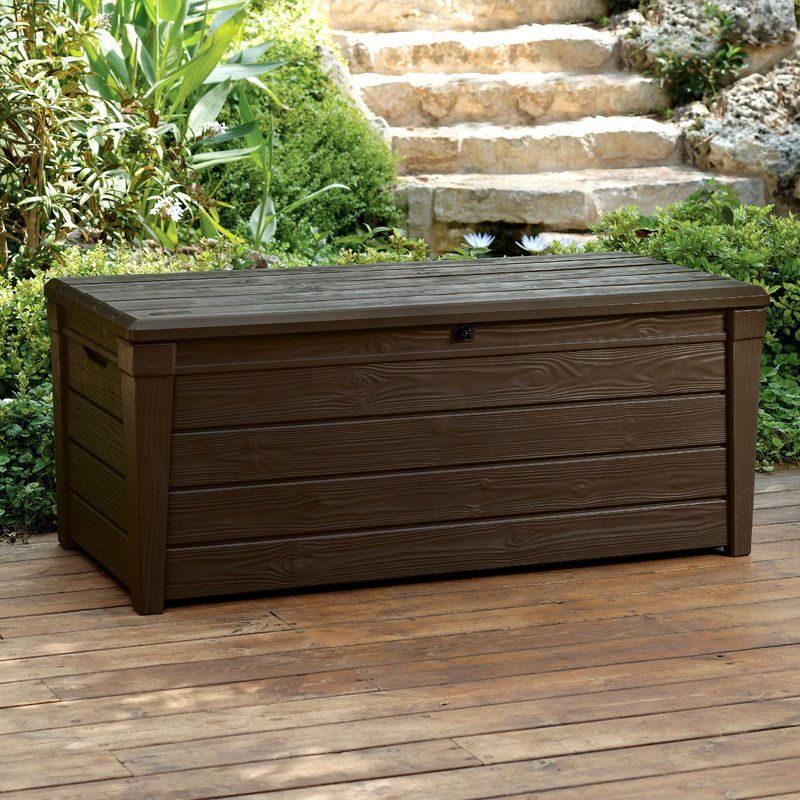 Brightwood 120 Gallon Resin Deck Box Deck Box Storage Outdoor