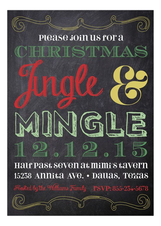Chalkboard Christmas Invitation From Polka Dot Design  The Most