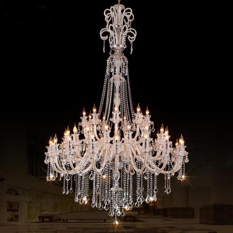 hotel hall large 45 pcs led chandelier candle lighting for living room modern church crystal. Black Bedroom Furniture Sets. Home Design Ideas