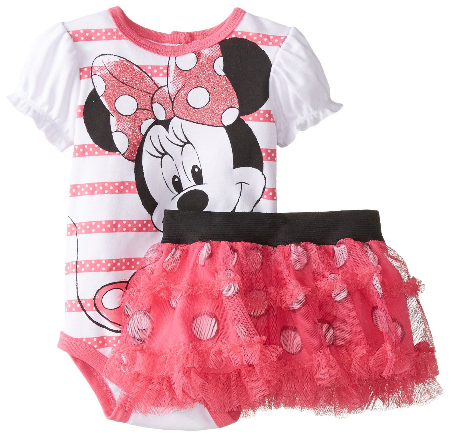 b656d601bba Disney Baby Baby-Girls Newborn Disney Minnie Mouse Soft Bodysuit and Skirt  Set, Pink, 9 Months