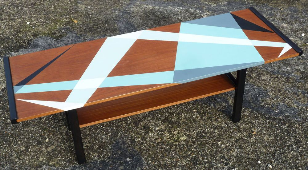 Details About Upcycled Painted Teak Retro Coffee Table With