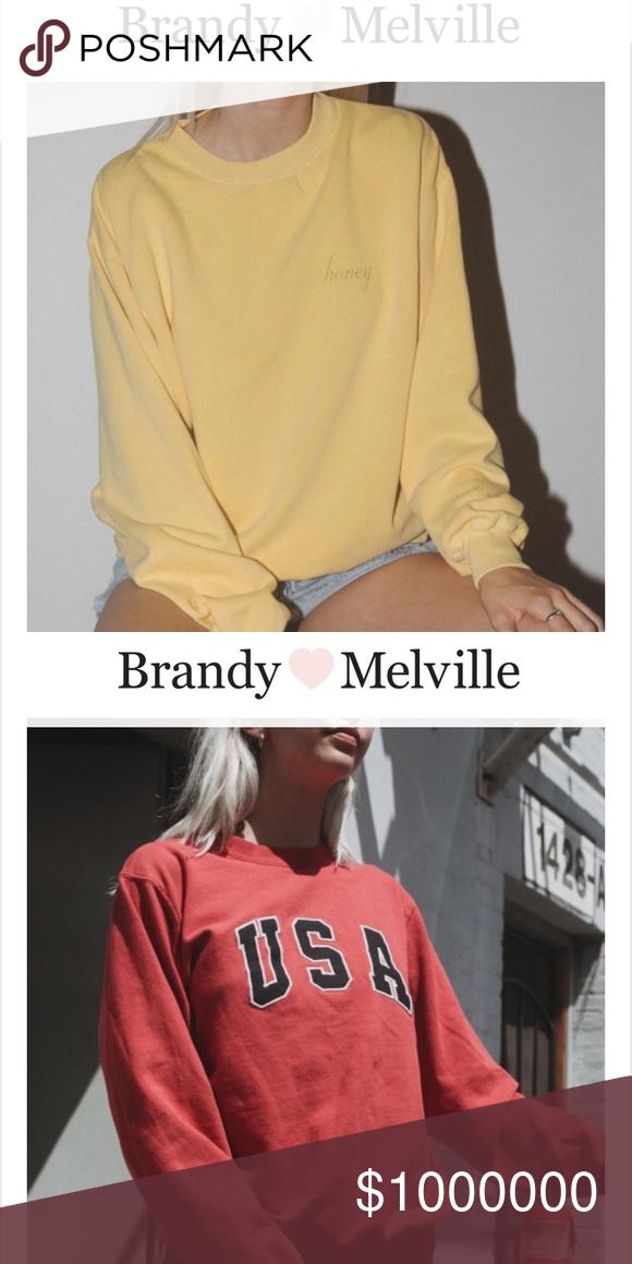 Iso Brandy Melville Honey Crewneck And Red Usa My Posh Closet