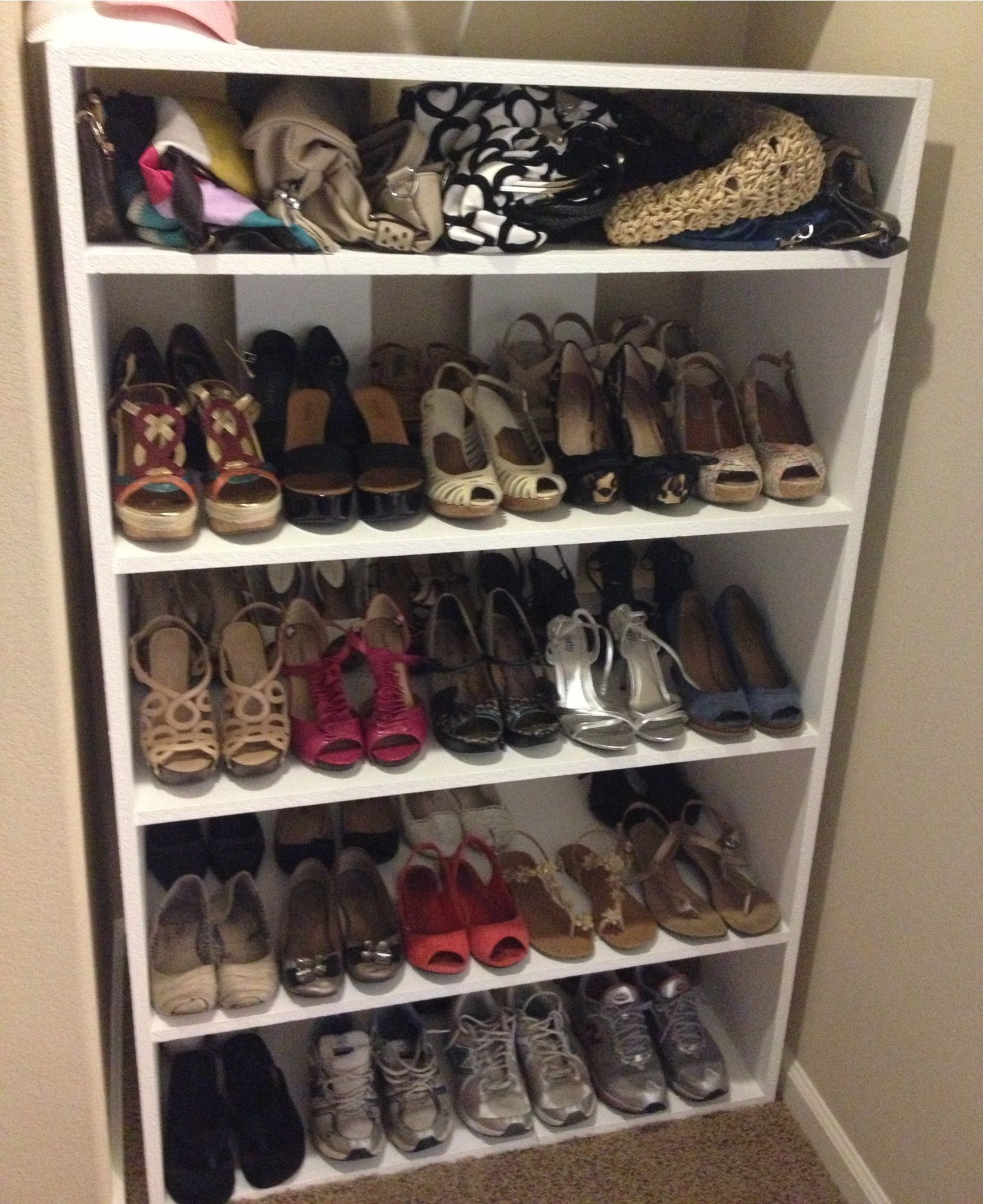 Diy Shoe Closet Shelves I Think Want This For The Back Of My Put In A Light On Sides So Can See Mmm