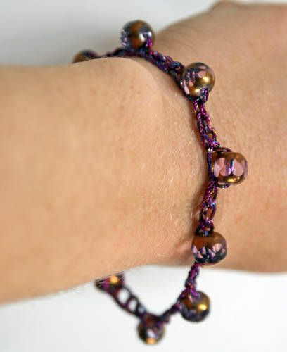 Raspberry Purple Crocheted Bracelet With Cathedral Beads