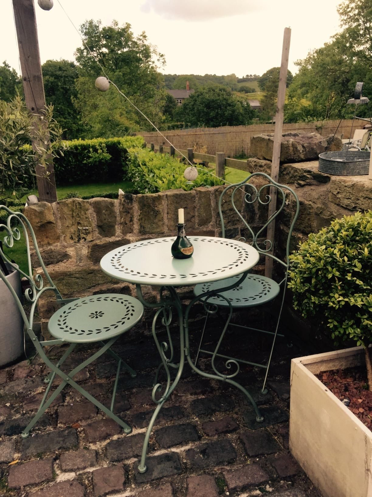bistro set garden furniture table and chairs shabby style chic