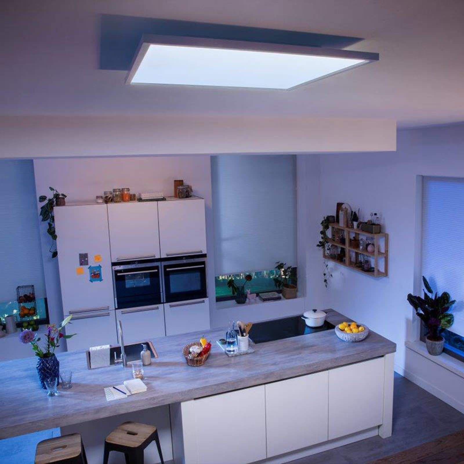 Moderne Smart Home Deckenleuchten Aurelle Von Philips Hue Weiss In 2020 Led Panel Wohnungsbeleuchtung Led