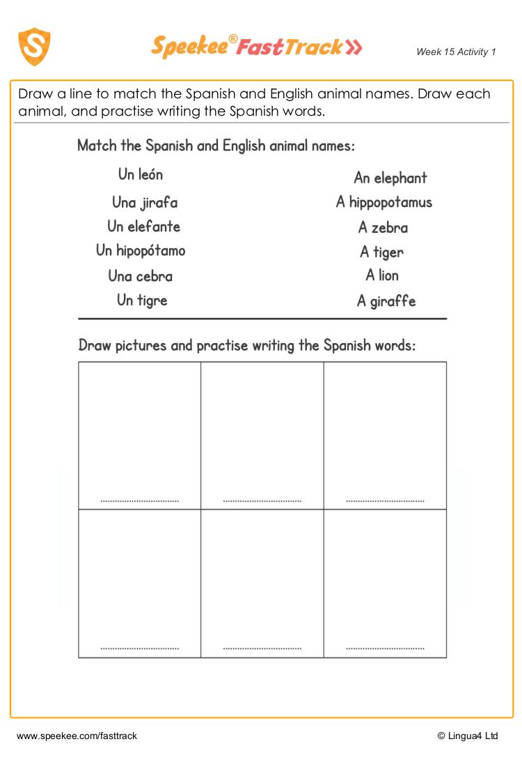 Animal Names In Spanish And English Worksheet Spanish Names Spanish Printables Homeschool Spanish [ 1100 x 750 Pixel ]
