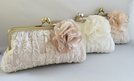 Blush Bridal Clutch Lace Ivory White Champagne Wedding Purse Couture Gathered Pleat Kisslock