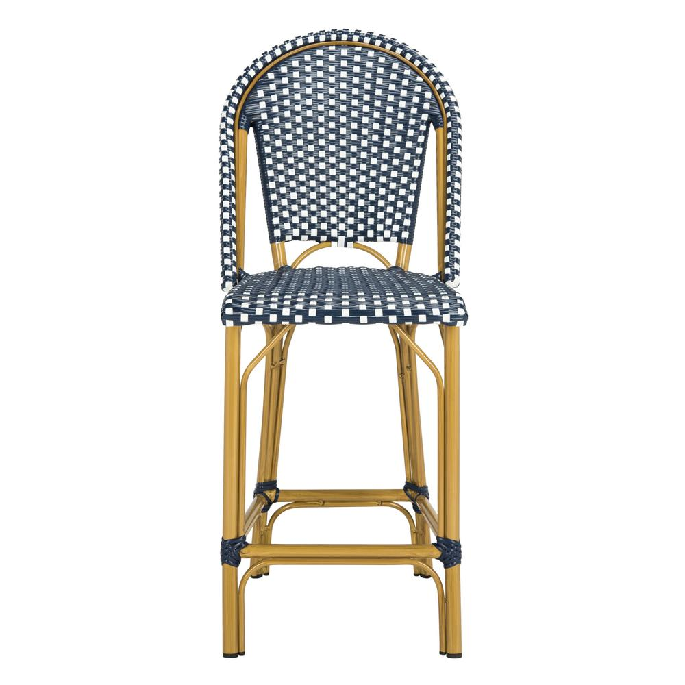 Safavieh Gresley Navy And White Wicker Outdoor Bar Stool Pat4019a Outdoor Bar Stools Patio Furnishings Bistro Stools
