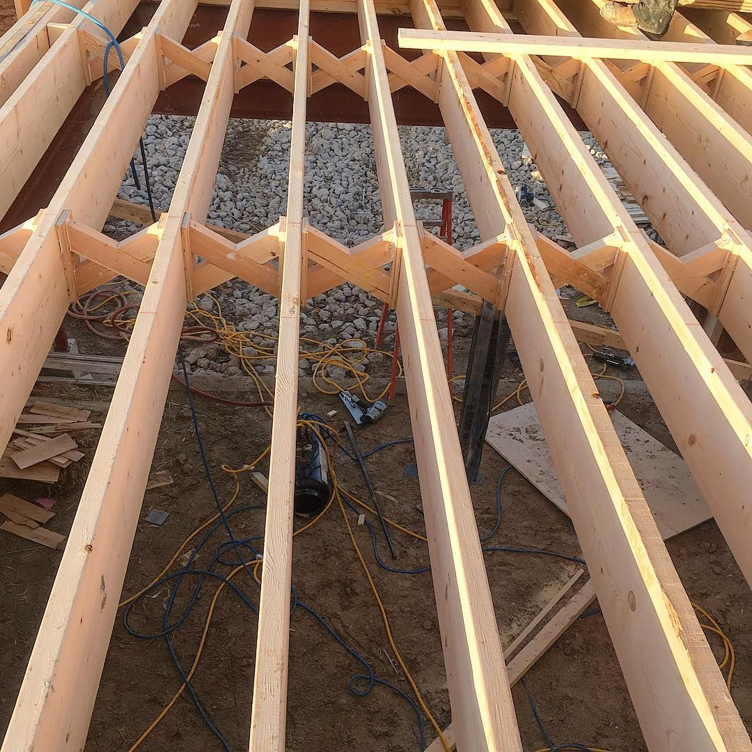 K Engel Constructionlong Span 2x10 Floor Joists Require Ibs2000 Bridging 2 Rows To Meet This Span Requirements Eve Floor Framing Timber Structure Construction