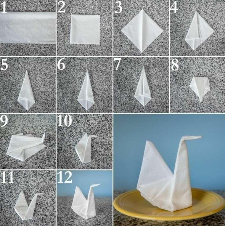 Pliage De Serviette Blanche En Papier En Forme D Oiseau