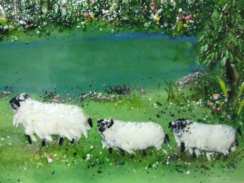 Kitchen Backsplash - Pond & Sheep | Designer Glass Mosaics|Designer Glass Mosaics