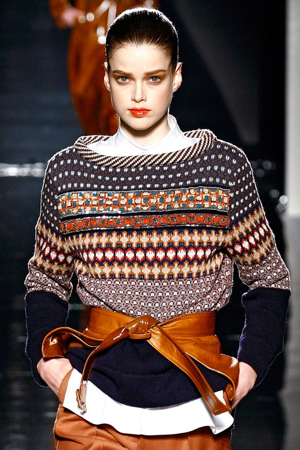Repin Via: Josephine Holmbe #graphic sweater #belt #cozy chic  ~  simply inspiration but some lovely patterning and colour work