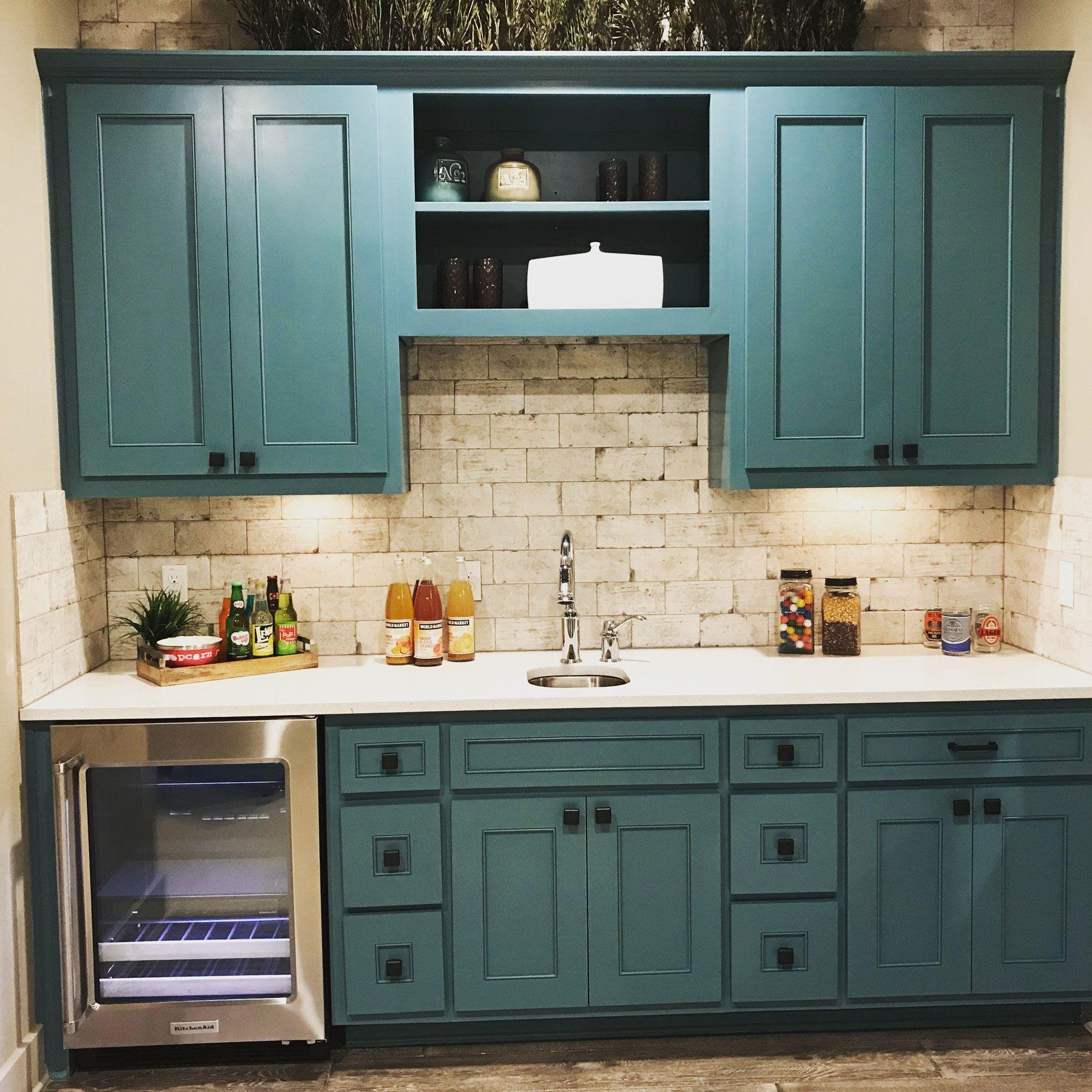 Wet Bar Blue Green Cabinets Blue Green Kitchen Green Cabinets