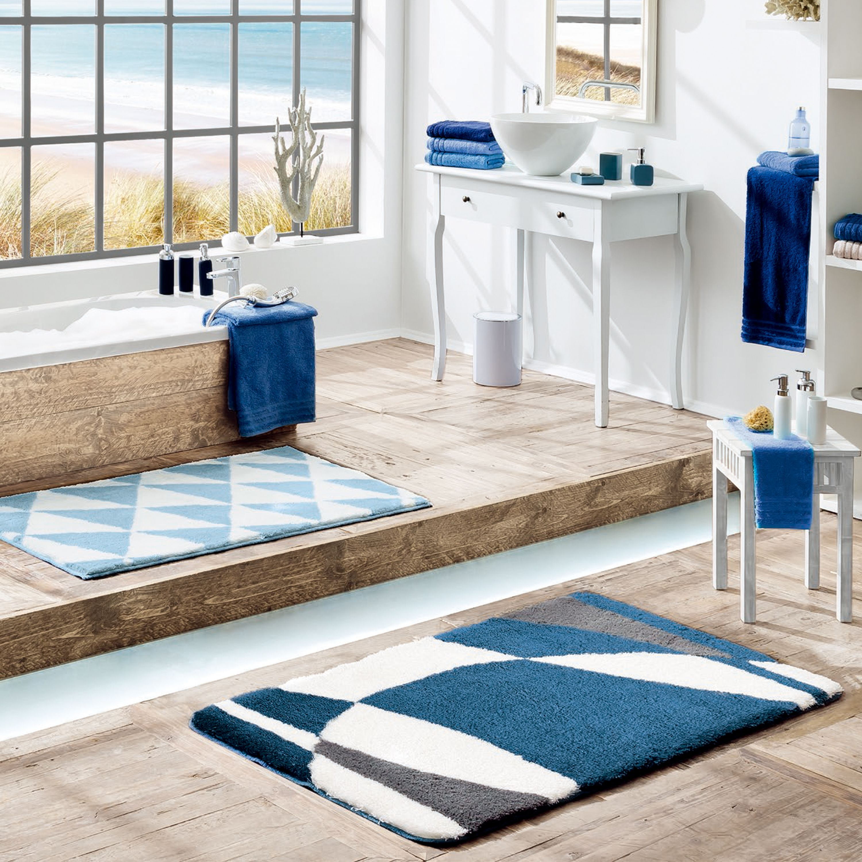 Contemporary Blue Bathroom Featuring A Selection Of Our Bath Rugs And Bath Towels The Bath Ru Contemporary Blue Bathrooms Blue Bathroom Contemporary Bathrooms [ 3000 x 3000 Pixel ]