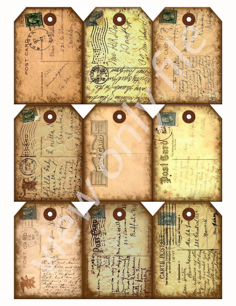 191 9 Antiqued Chic Vintage Postcard Hang Tags Scrapbooking Paper Crafts