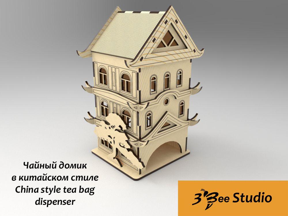 China style tea bag dispenser plan vector file
