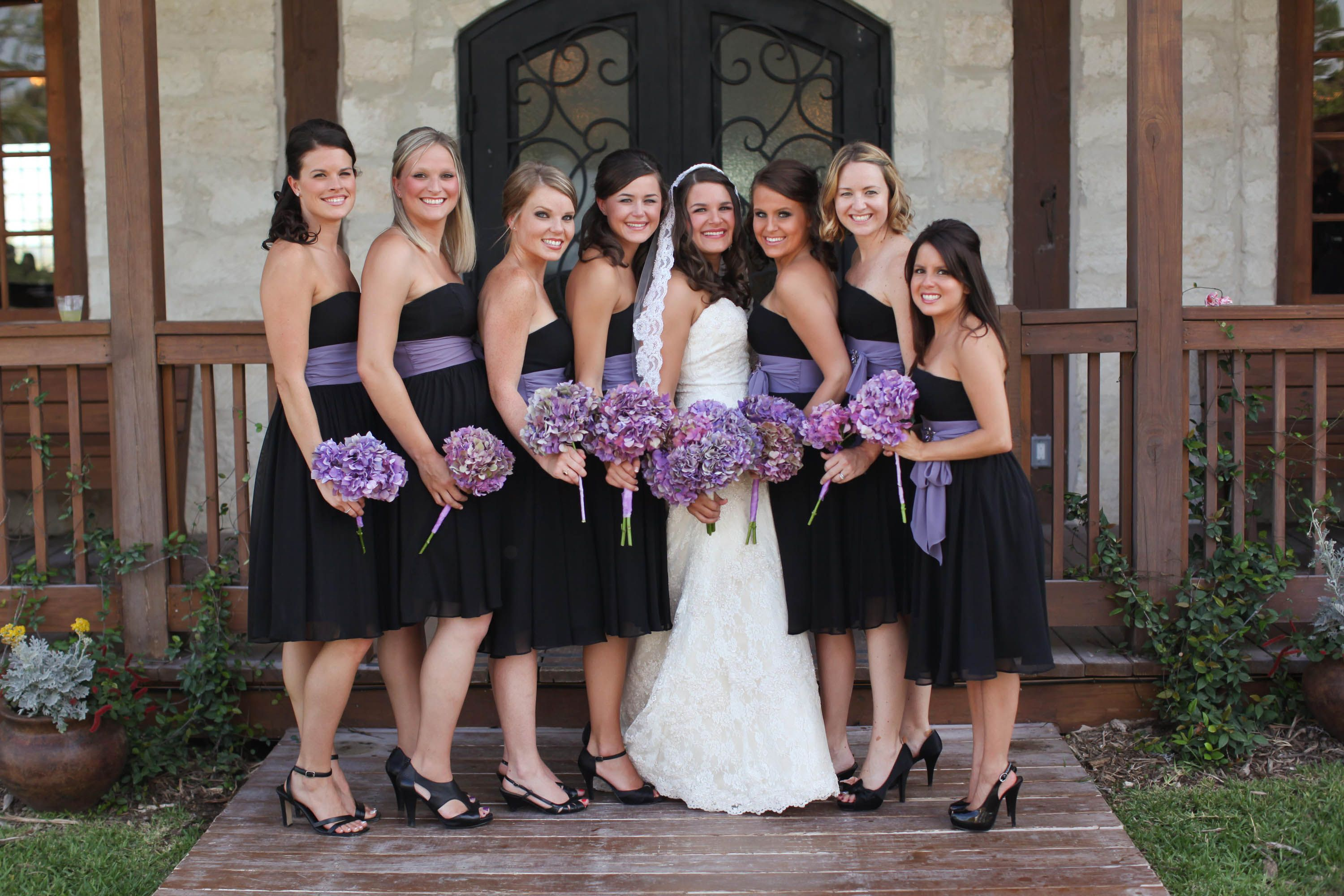 Gorgeous look i could buy them all a matching purple sash that black bridesmaid dresses with purple sashes ombrellifo Images