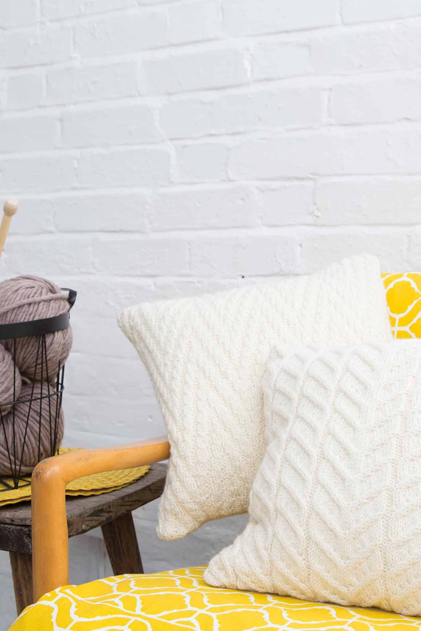 Cream knitted cushions with stylish textured designs   Home Decor ...