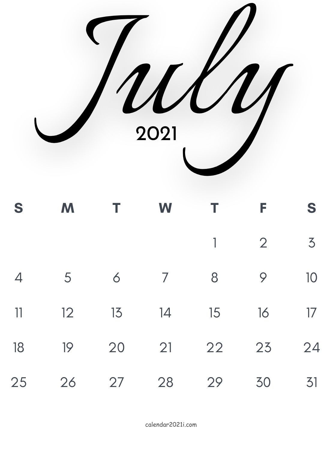 July 2021 Calligraphy Calendar Free Download In 2020 Monthly Calendar Printable Calendar Printables Calligraphy Calendar