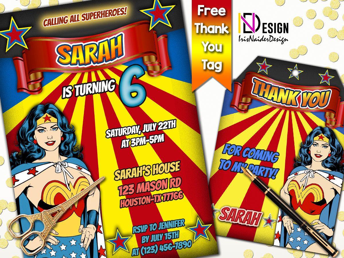 Wonder Woman Invitation FREE Thank You tag Wonder Woman Birthday