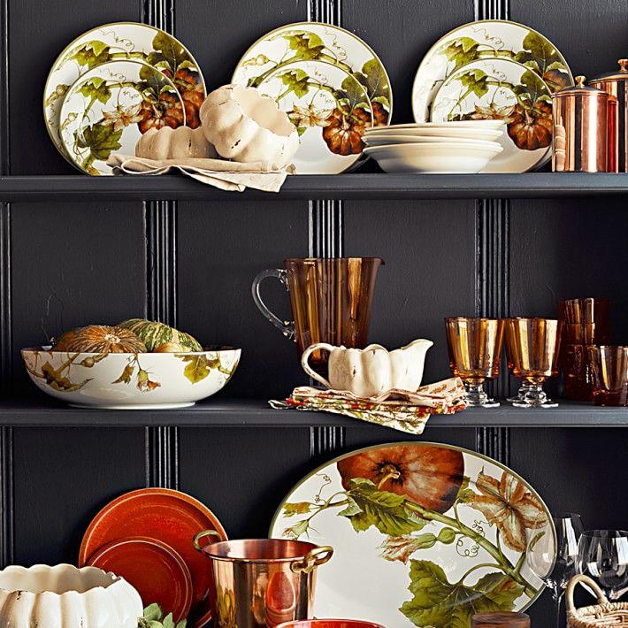 Botanical Pumpkin Dinner Plates Set Of 4 Thanksgiving